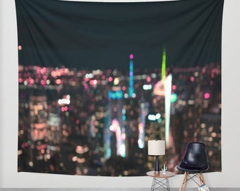 New York Manhattan Time Square - Wall Tapestry Photography Backdrop Bokeh urban modern art dreamy wedding outdoor garden, dorm tapestry