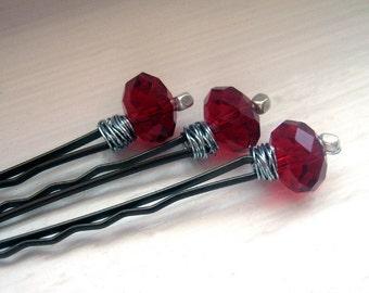 red bobby pins... hairpins - a trio of cherry quartz crystal bobbies