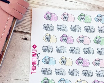 Sleepy Kitty Decorative Planner Stickers for Erin Condren, Happy Planner, Filofax and more.