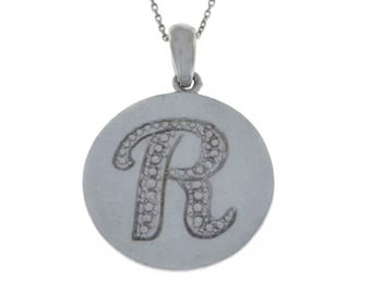 Initial Letter R Pendant .925 Sterling Silver Rhodium Finish