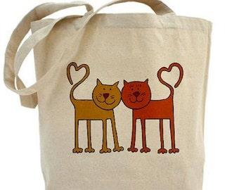 Cotton Canvas Tote Bag - Love CATS - CAT Bag