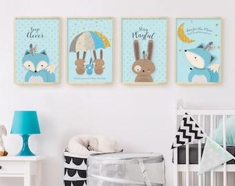 Woodland nursery, Forest animal set, Boy nursery, Nursery set of 4, Animal, Nursery wall art, Forest friends, Fox, Bunny, Digital download