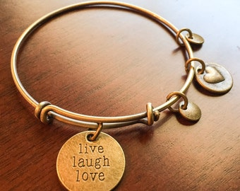 Inspirational Bangle Bracelet, live laugh live, live bangle, love bangle, laugh bangle, inspirational gifts, Mother's Day gifts, love