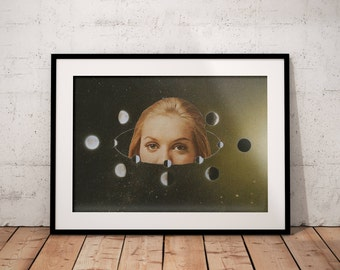 """Moon phases print, Lunar Phases Wall Print, Full Moon Print, New Moon, Crescent Moon, Lunar Phase Wall Art, Moon Phase Poster 8x10"""""""