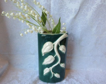 Royal Copley Green Vase with White Leaf Branches - Tall Oval Pillow Shape Mid Century