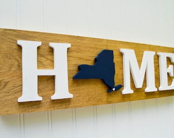 """New York Yankees """"State Heart"""" Home Sign - Handcrafted wood with official team colors"""