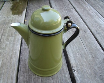 Vintage 1950s Enamelware Olive Green With Black Trim Individual Teapot Or Creamer Made in Poland