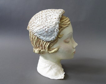 50s The Iridescent Hat - 1950s Vintage Hat - White Shimmering Sequins 50s Hat with Side Grips - Vintage White Glistening Crown Hat
