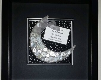 Ivory and Silver Crescent Button and Bead Moon - Imagine - John Lennon - Fabric - Night time - Gift - Birthday - Christmas - Funky - Dreamer