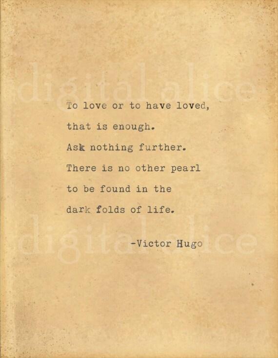 VINTAGE TYPEWRITER PRINT Victor Hugo Love Quote Wall Art