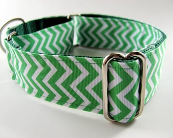Green Chevron Dog Collars