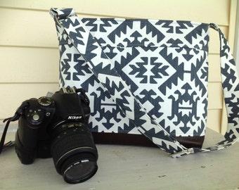 DSLR padded camera bag Aztec, crossbody strap, photography, wedding photography, travel camera bag,camera built in insert