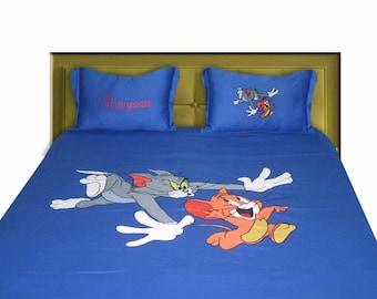 BrightLinen Custom Sheet Set, Tom and Jerry