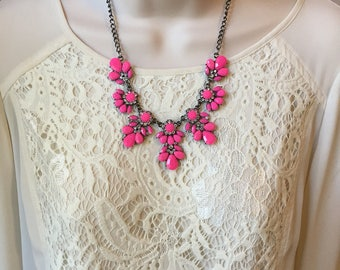 Fuchsia Hot Pink Crystal Sparkle Chandelier Vintage Style  Statement Necklace More Colors
