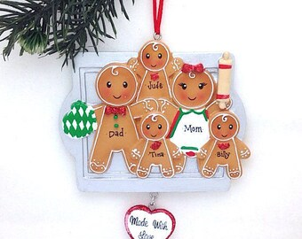 5 Gingerbread Family Ornament / Made with Love Personalized Christmas Ornament / Gingerbread family Ornament