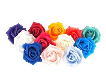 Foam Roses Flower Head Embellishment, 2-Inch, 12-Piece