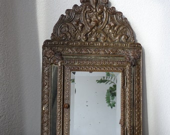 Antique Brass Hall Mirror Cabinet, Beveled Mirror, Clothes Brush Cabinet, Antique Key Cabinet, Stately Home