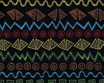 Bright Colored Shapes on Black Background- Urban Zoo Collection by Galaxy Fabrics