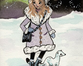 Lyra Belacqua. His Dark Materials Fan Art. Watercolor Print.