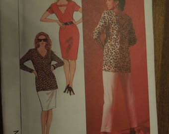 Simplicity 9620, sizes petite thru X-L, stretch knits, pants, skirt, dress, tunic, UNCUT sewing pattern, craft supplies
