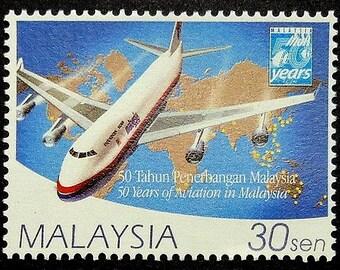 Boeing 747 Aircraft -Handmade Framed Postage Stamp Art 17512AM