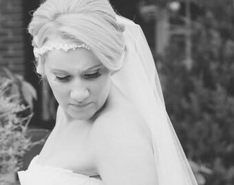 CLARICE Crystal And Pearl Hair Vine, Bridal Halo, Wedding Headdress, Wedding Hair Vine, Pearl Halo.l
