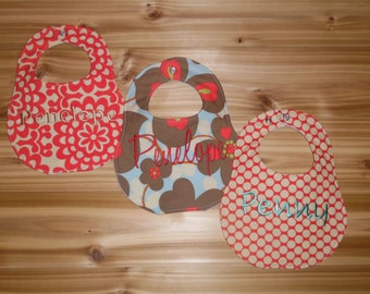 Custom monogrammed bib set of 3 - Amy Butler Fabrics