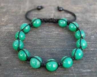 Green Jade Bracelet,Gemstone 12mm Beads,Shamballa Bracelet,Yoga,Meditation Bracelet,Gemstone,Man,Women,Beaded Jewelry,Gift,Ethnic Bracelet