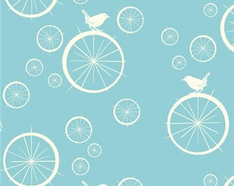 Birdie Spokes Pool, Birch Organic, Mod Basics, Light Blue Aqua Birds, Modern Fabrics, One Yard, More Available