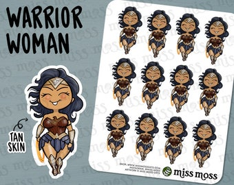 Warrior Woman Stickers, Wonder, Strong, Fighter, Tough Girl - Erin Condren, Happy Planner, Kikki K, Filofax, Decorative