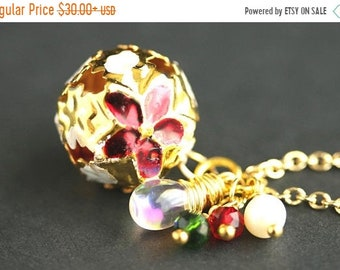 MOTHERS DAY SALE Holiday Bell Necklace. Christmas Necklace in Red and Green. Gold Bell Necklace. Holiday Necklace. Poinsettia Necklace. Hand
