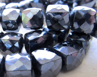 Black Spinel Faceted Square Beads W/ Metalic Coating 10mm Cubed - 8 inch Strand