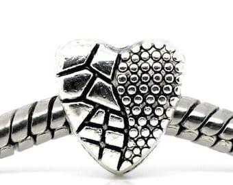 10 European beads silver metal heart spacer