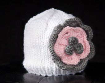 Vintage Inspired Beanie with a Layered Flower - Made to Order - You Choose Colors