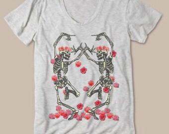 Womens Vintage Dancing Skeleton Flower Crown Boho Modern fashion Tee Bohemian Slouchy T shirt screen print Top Alternative Apparel S M L XL
