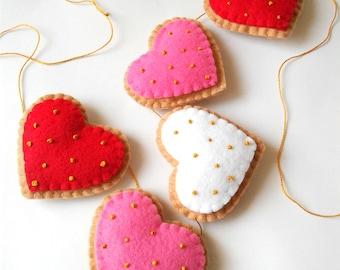 Felt Cookie Ornaments, Valentine Garland, Valentine Ornaments, Heart ornaments, Valentine's Day Hearts, Felt Hearts, Felt ornaments