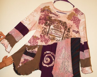 Upcycled flowy one-of-a-kind designer tunic top made from repurposed clothing