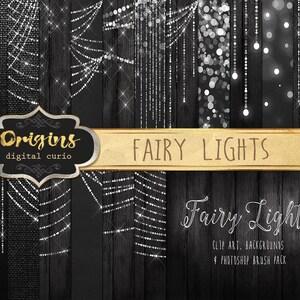 Fairy Lights Clipart, Digital Paper, Bokeh String Lights Clip Art, Wedding Photography Overlays, Christmas Lights, Photoshop Brushes