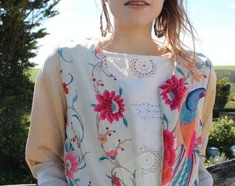 Embroidered jacket, Silk jacket, cropped jacket, boho chic, penny lane, boho clothing women, embroidery, floral jacket, bomber jacket, 70s
