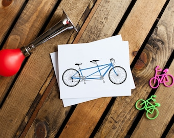 Bicycle Notecard #1 - Tandem (stationery, blank interior, thank you, thinking of you, friendship)
