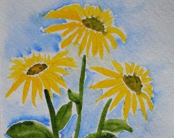 Yellow Coneflowers  with Green Center Watercolor Notecard