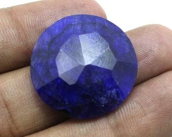 40 Cts Blue Corundum Sapphire Semi Precious Faceted Round Cut Jewelry Making Loose Gemstone