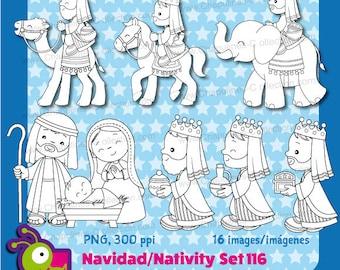 Nativity Clipart Black and White, Christmas, Joseph, Mary, Baby Jesus, three wise men, dromedary camel, horse, elephant, three kings Set 116
