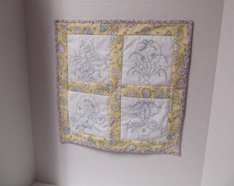 Embroidered Baskets wallhanging/table topper