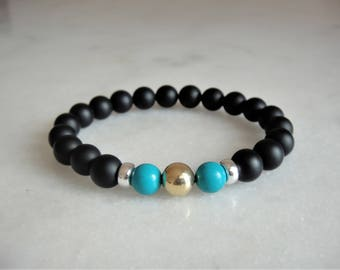 Turquoise bracelet with solid 18k gold sterling silver and black onyx beads / Beaded turquoise gold bracelet turquoise jewelry onyx bracelet