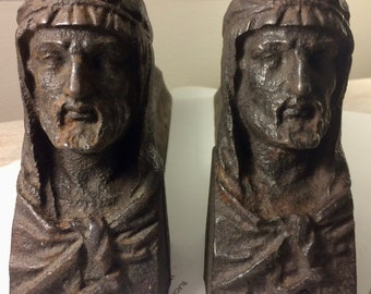 19th century France, Pair of Cast Iron Firedogs/Andirons, Male Bust, XIII Signature