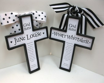 GIFT SET of Black and White Twin Cross Baptism Christianity Set to Honor a Birth, Christening , Baptism, God Bless, 1st Communion