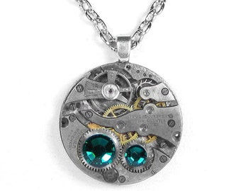 Steampunk Jewelry Necklace Vintage Watch Movement Steam Punk EMERALD Crystals Wedding Anniversary GORGEOUS - Jewelry by Steampunk Boutique
