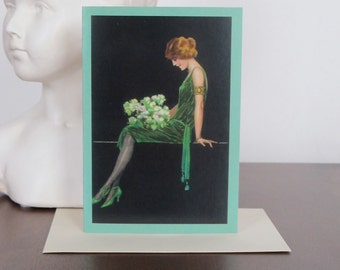 Lady in Green Card, Greeting Card, Woman Card, Vintage, Retro