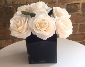 White roses decor etsy stylish luxury black vase with white roses centerpiece home decor wedding centerpiece mightylinksfo